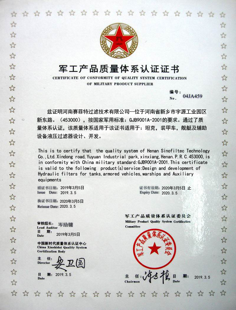 ERTIFICATE OF CONFORMITY OF QUALITY SYSTEM CERTIFICATION OF MILITARY PRODUCT SUPPLIER
