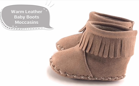 Mid-calf Leather Baby Boots with Mark Thread