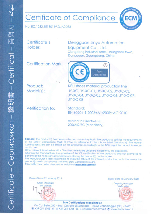 KPU production line CE Certificate