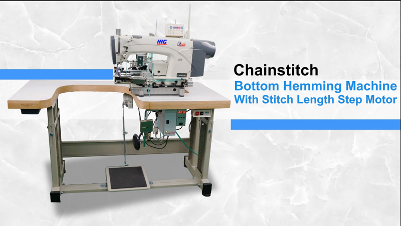 IHG Chainstitch bottom hemming machine with stitch length step motor.