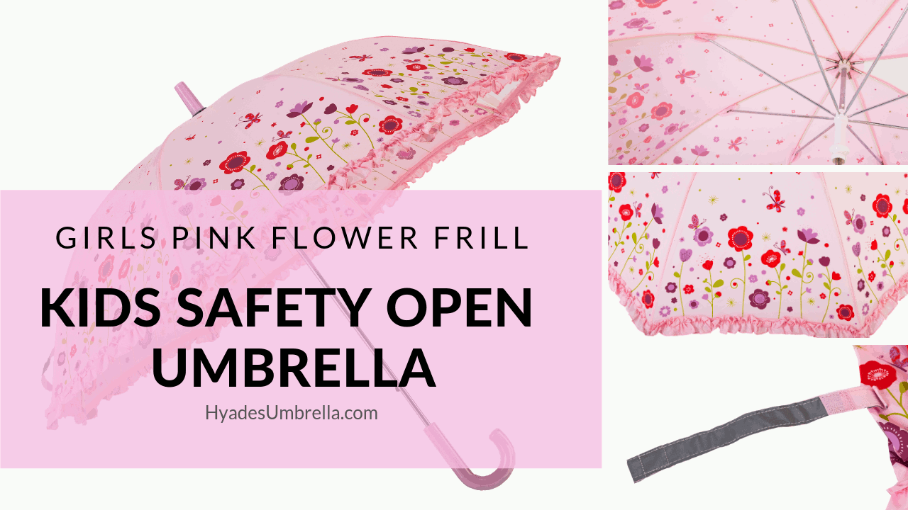 Girls Pink Flower Frill Kids Safety Open Umbrella