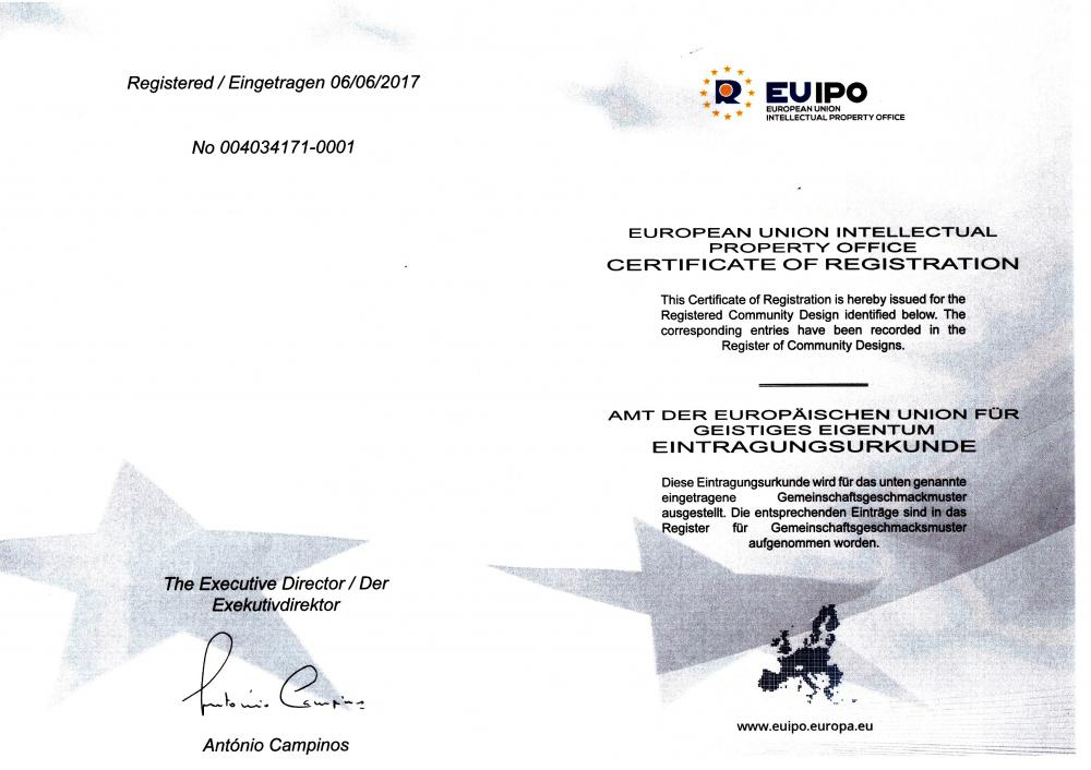 EUROPEAN UNION INTELECTUAL PROPEPTY OFFICE CERTIFICATE OF REGISTRATION