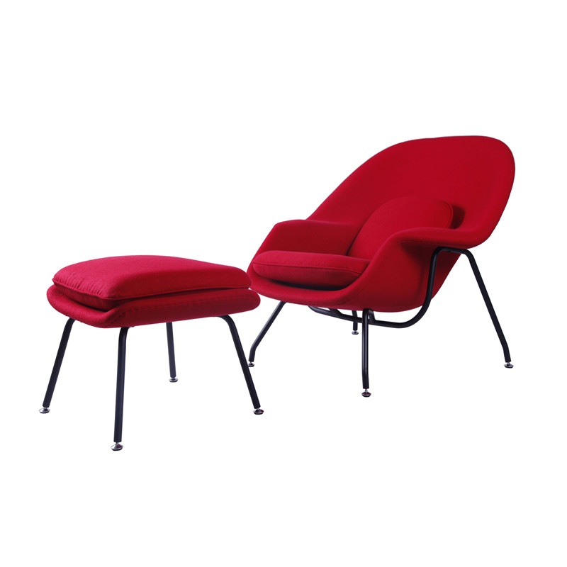 RED FABRIC WOMB CHAIR FOR LIVING ROOM