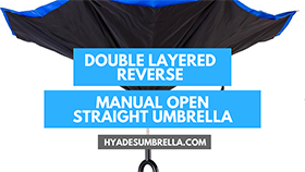 Double Layered Reverse Manual Open Straight Umbrella