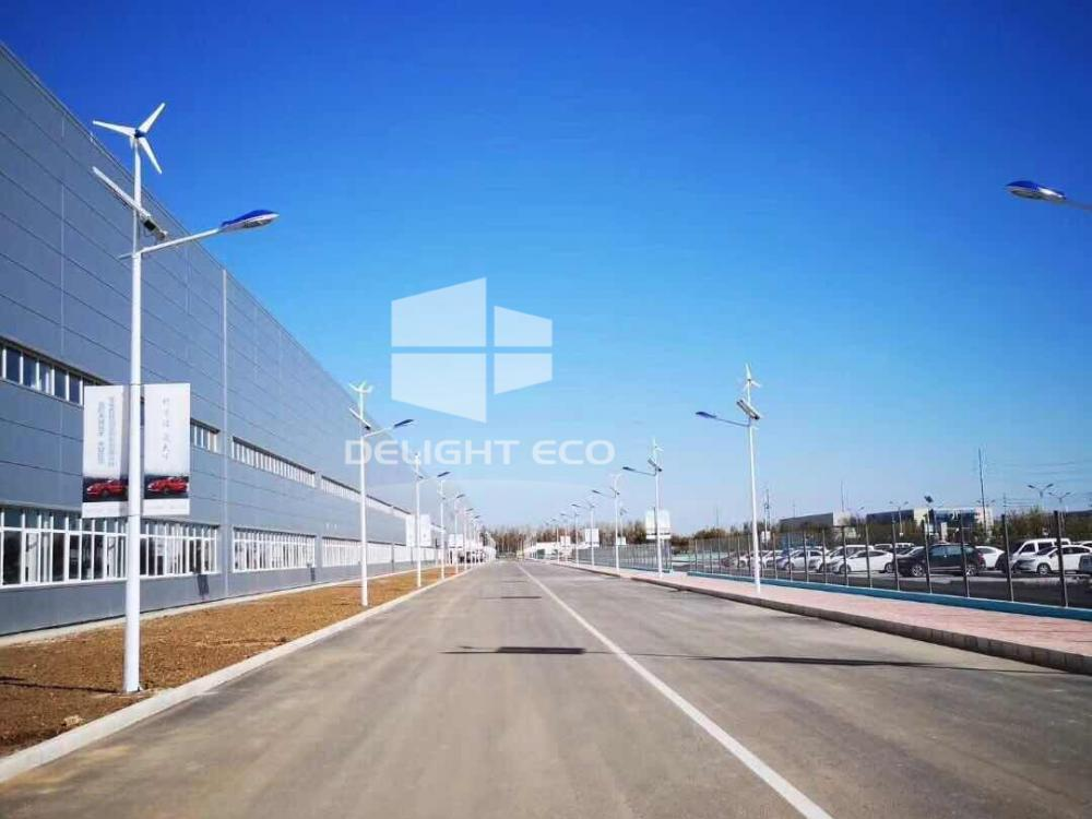 Wind Solar Hybrid Street Light Outside Factory