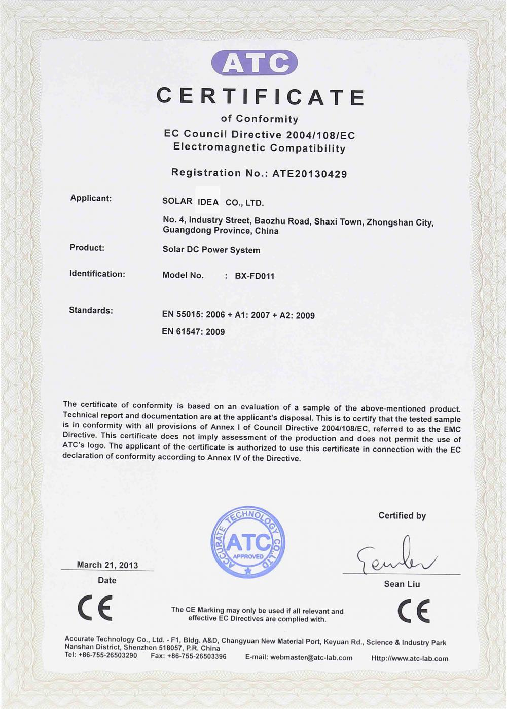 CE certificate of Solar System