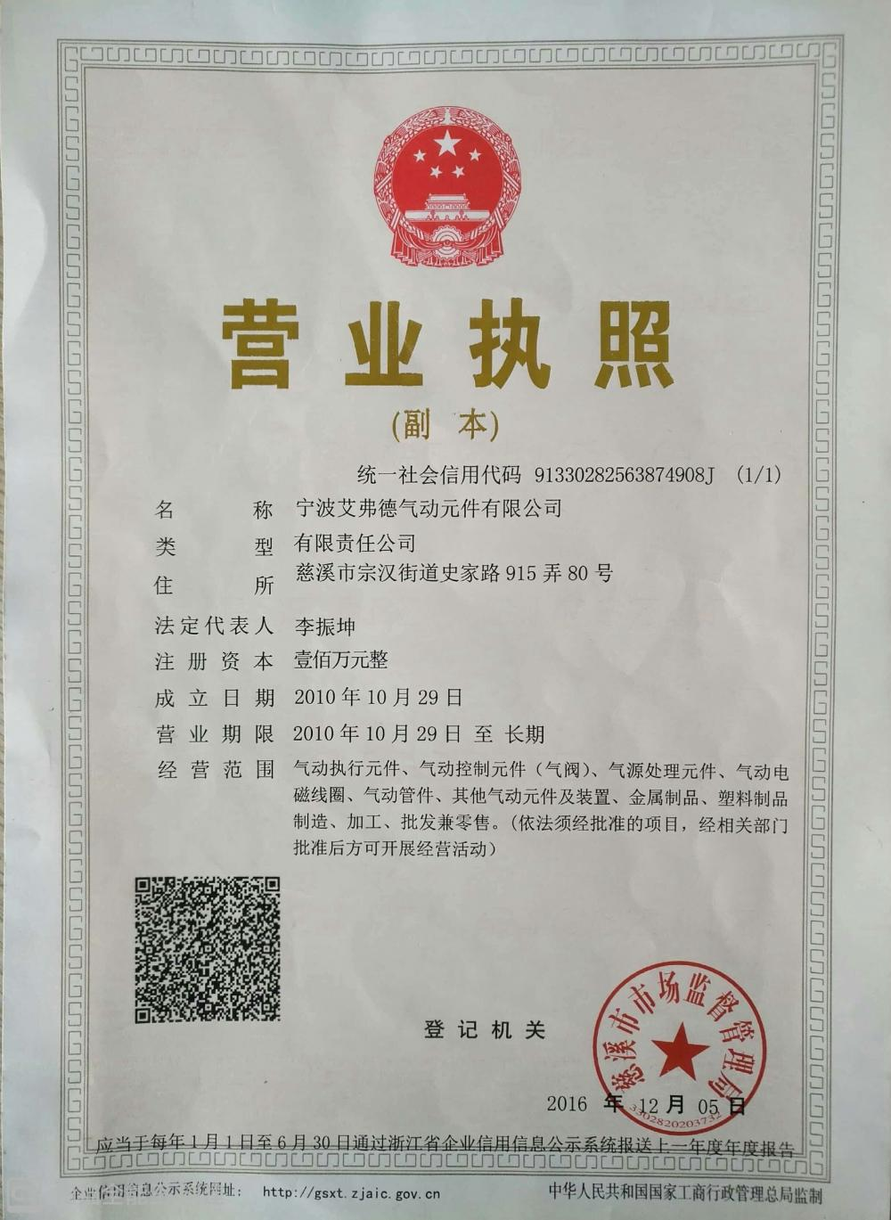 Business license of legal Entity
