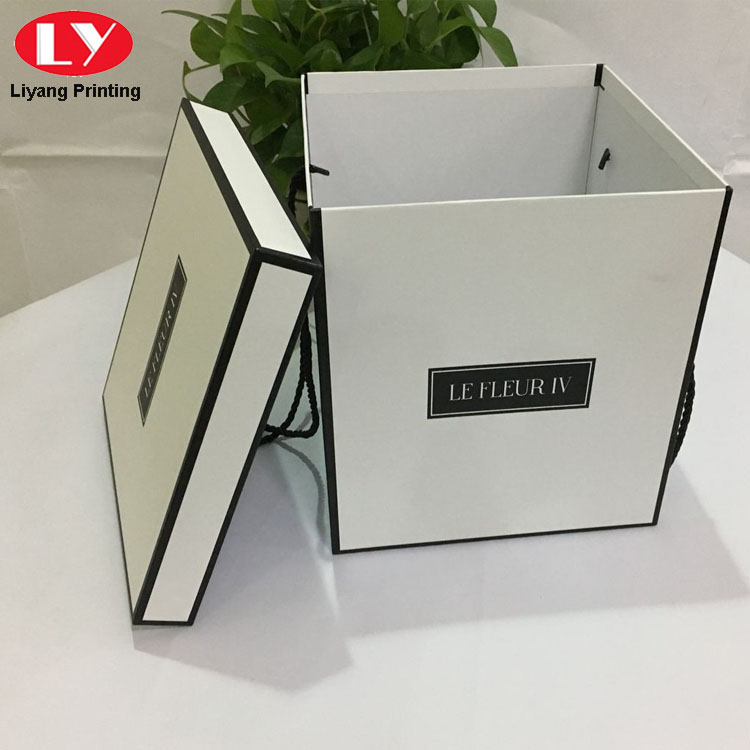 Custom Printed Luxury Square Paper Flower Box with Rope Handle