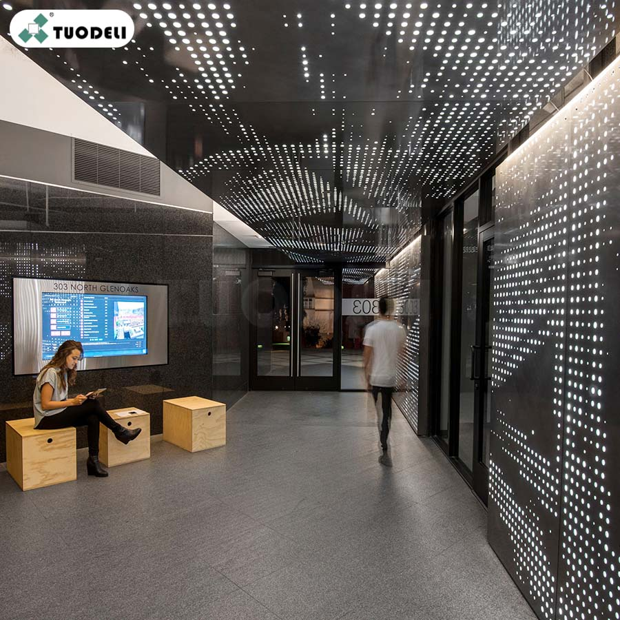 Interior perforated cladding