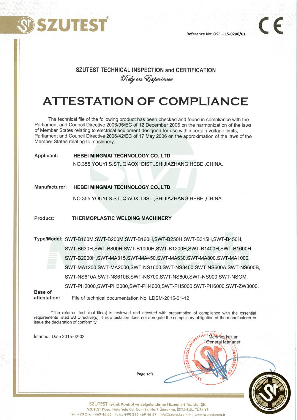 CE certificate for thermoplastic welding equipment