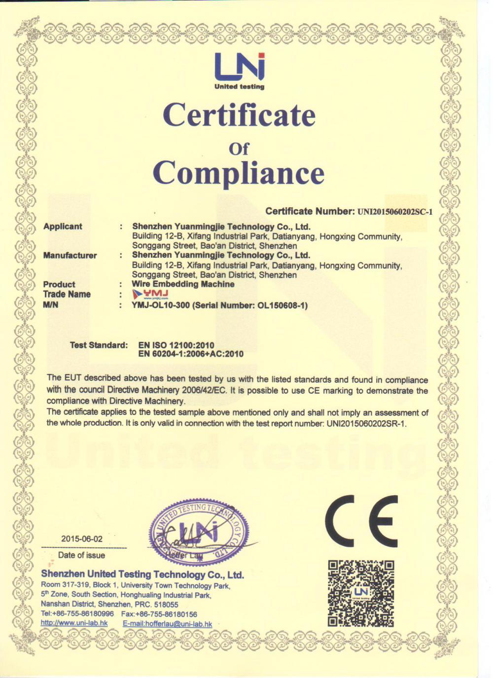 CE of Wire Embedding Machine