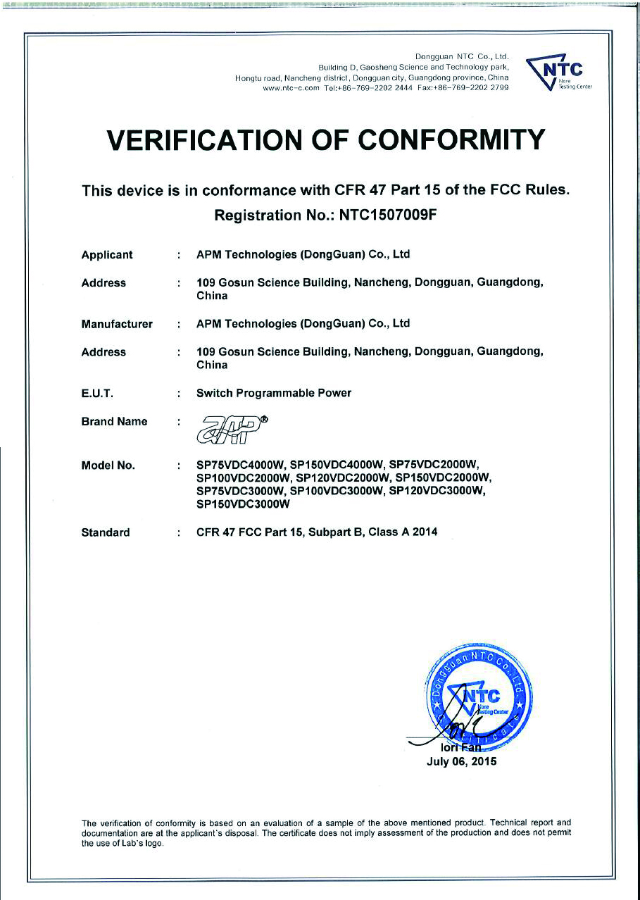 SP2kW,SP3kW,SP4kW FCC Certification