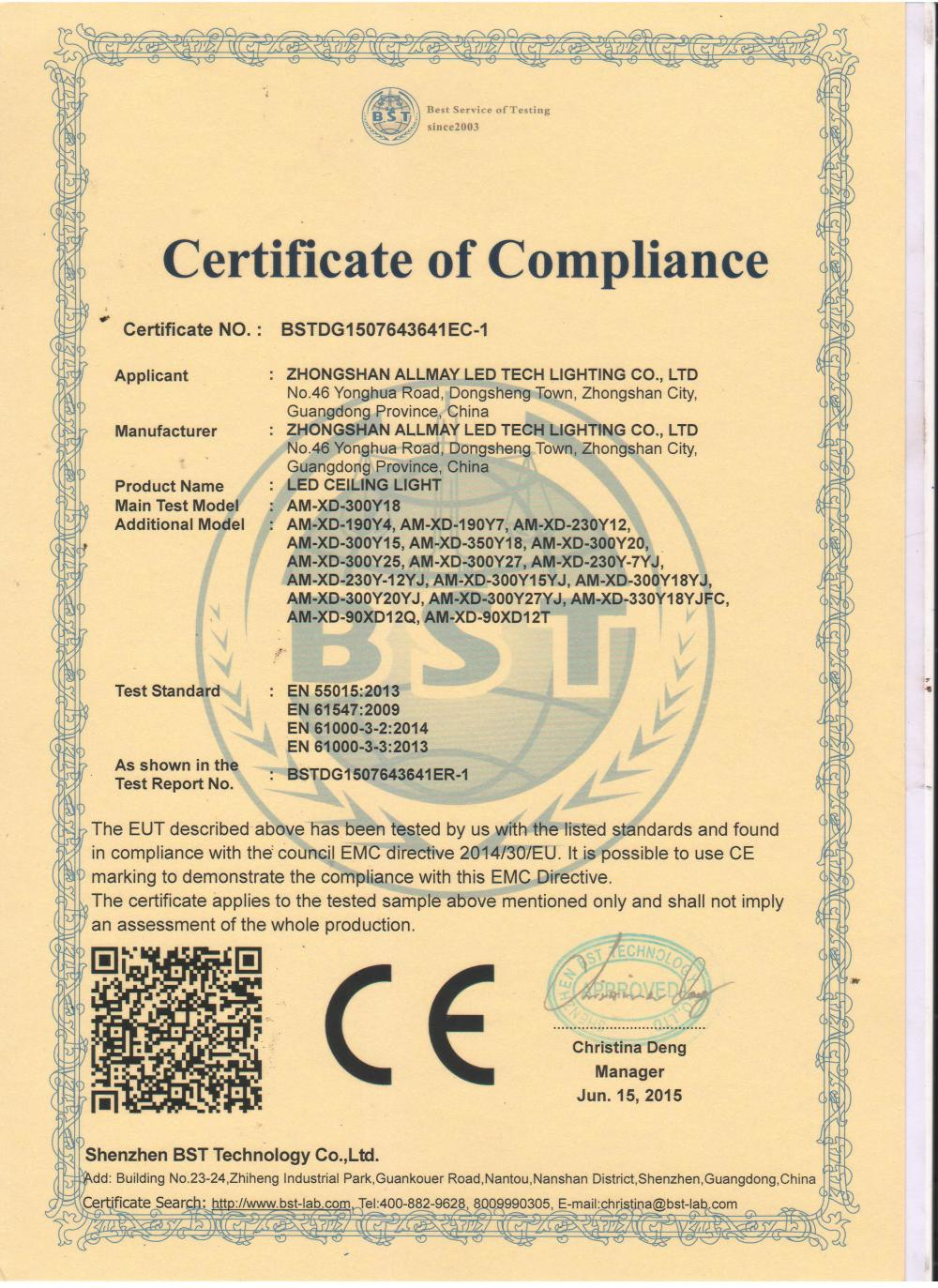 CE EMC Certificate of LED Ceiling light