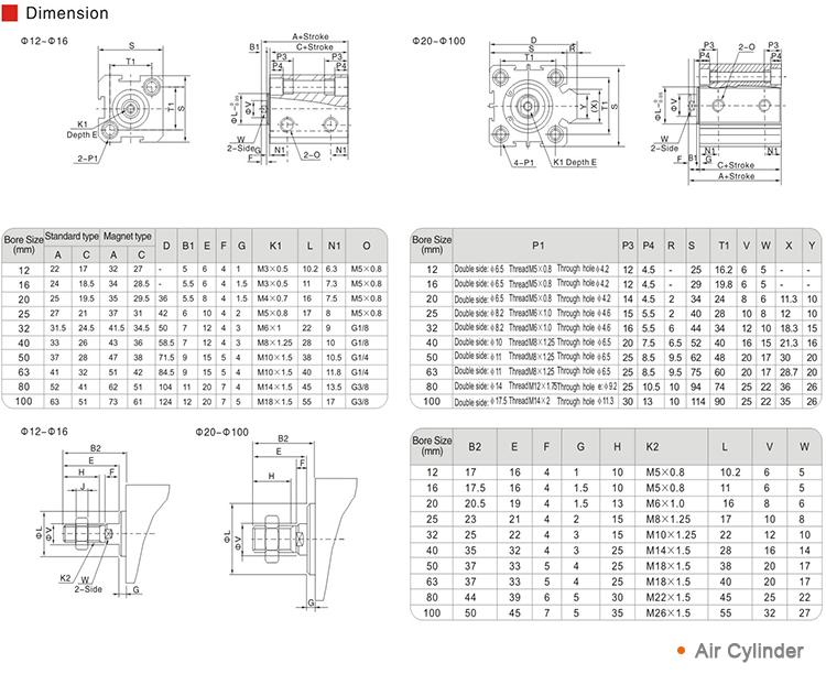 Airtac Typ Aluminium Kompaktluftpneumatikzylinder SDA Serie zu verkaufen