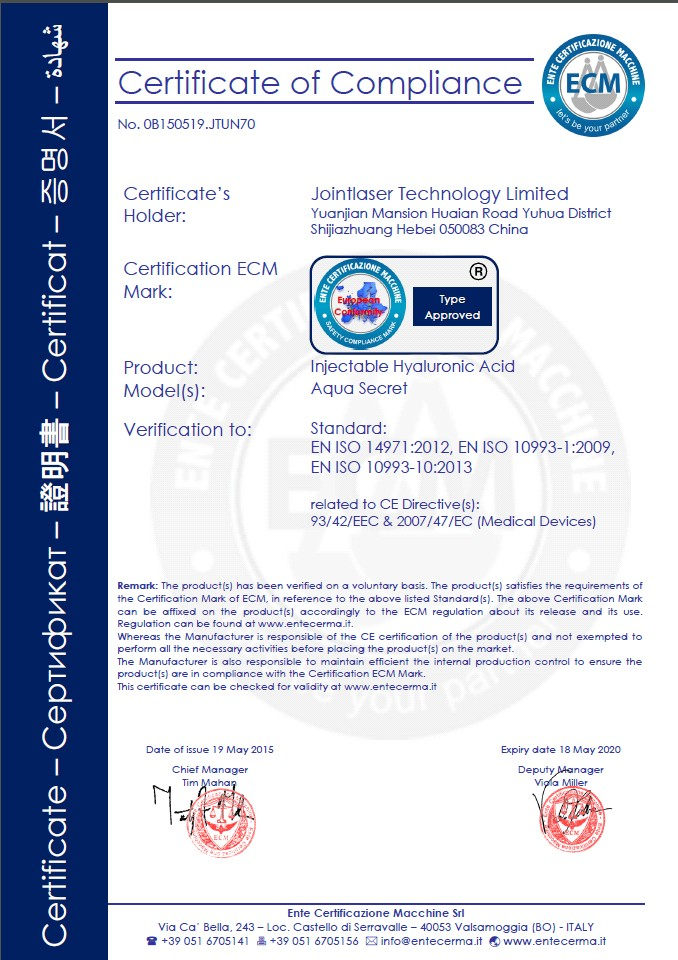 dermal filler CE certificate