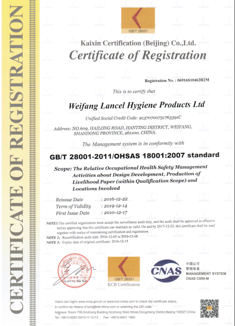 Certification of Registration OHSAS standard
