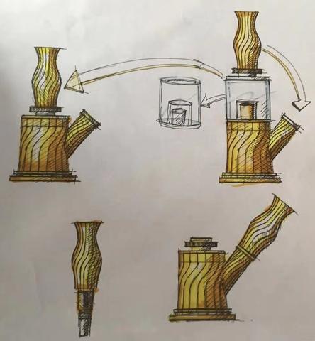 Design-Manuskript der Waxmaid 4-IN-1 Doppelperkolator-Wasserpfeife