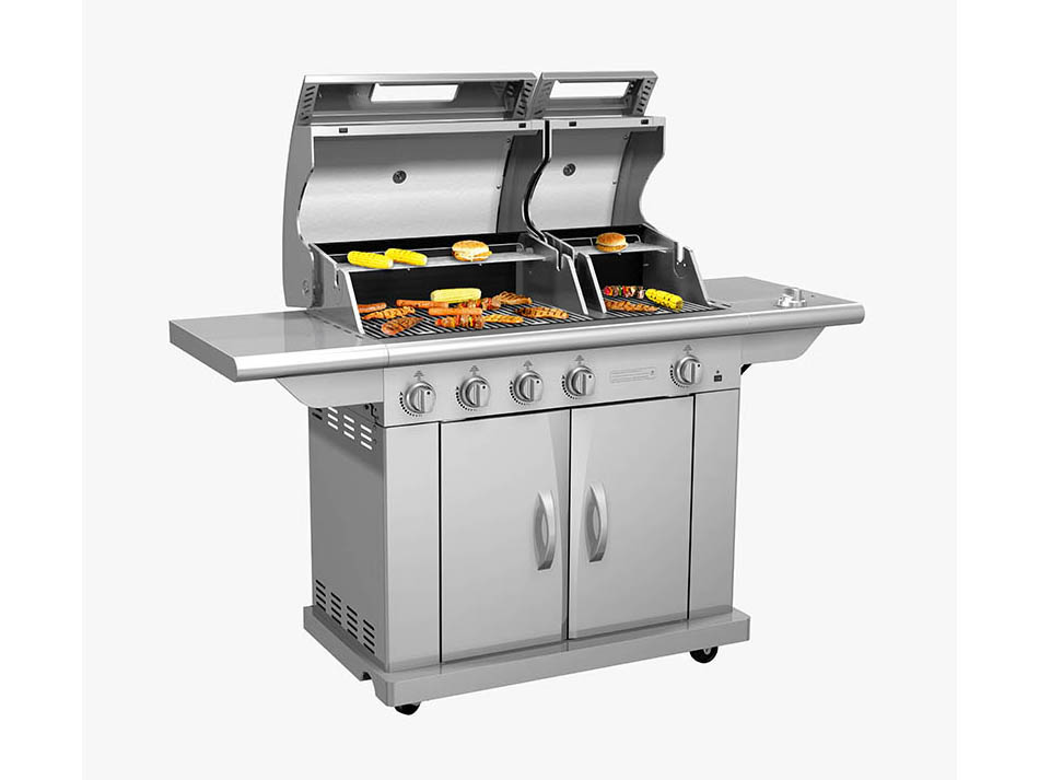 Split lid Deluxe Gas grill BBQ