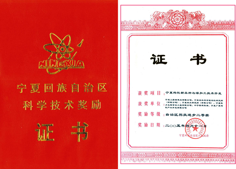 The Second Prize of Ningxia Hui Autonomous Region Scientific and Technological Progress Award