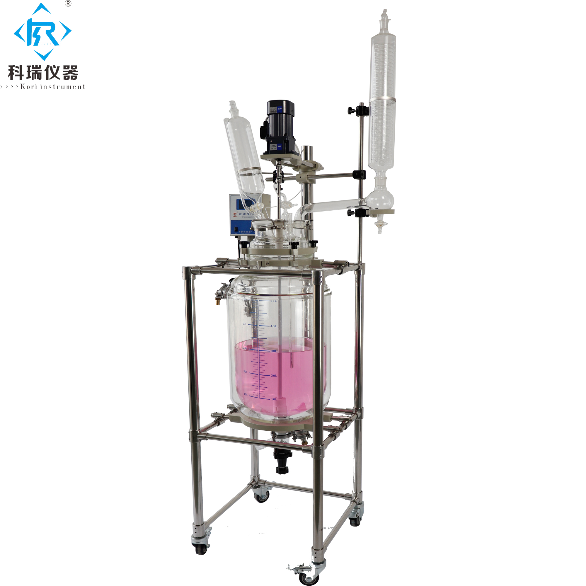 Jacketed Double layer Glass Reactor 1-3L Agitated Glass Reactor Borosilicate Glass 3.3 Reaction Kettle