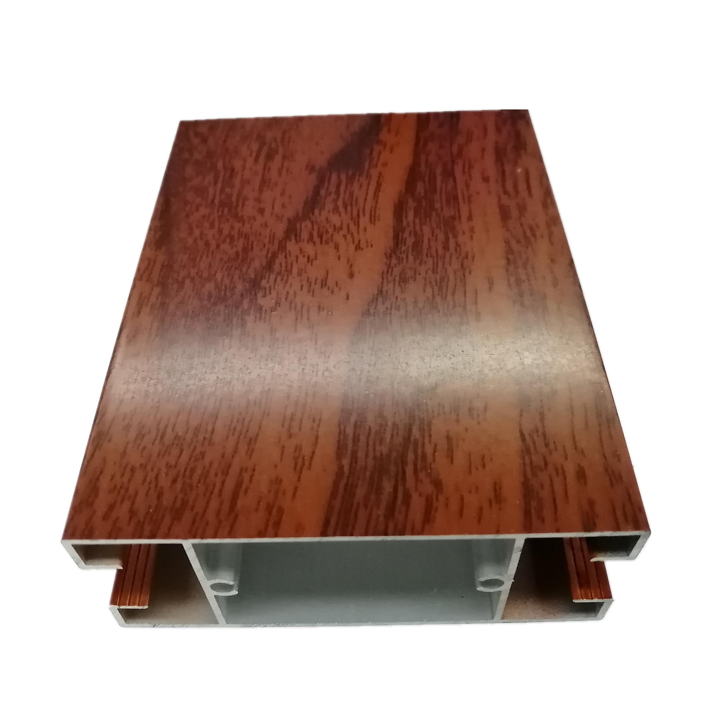 6063 Wood Finish Aluminium Profiles Heat Transfer Wood Grain Profiles Building Decoration Aluminum Frame