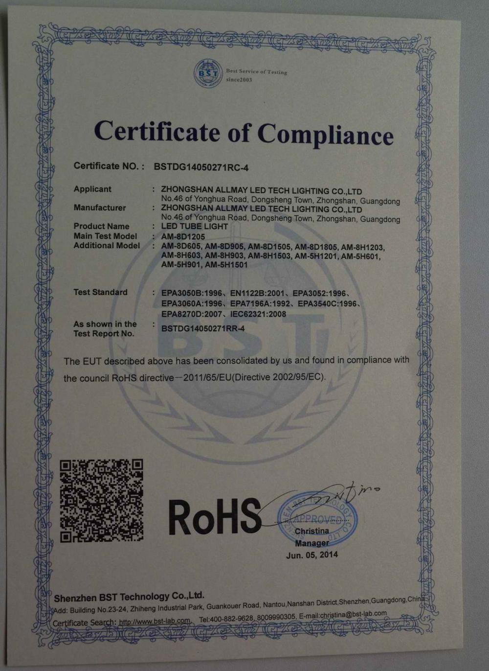RoHS Ceritificate of LED Tube light