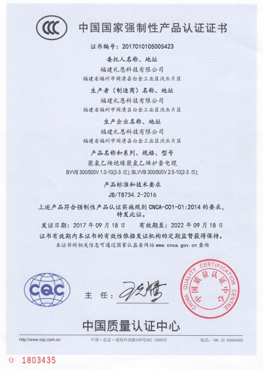 CCC of PVC Insulated and Sheathed Electrical Wire