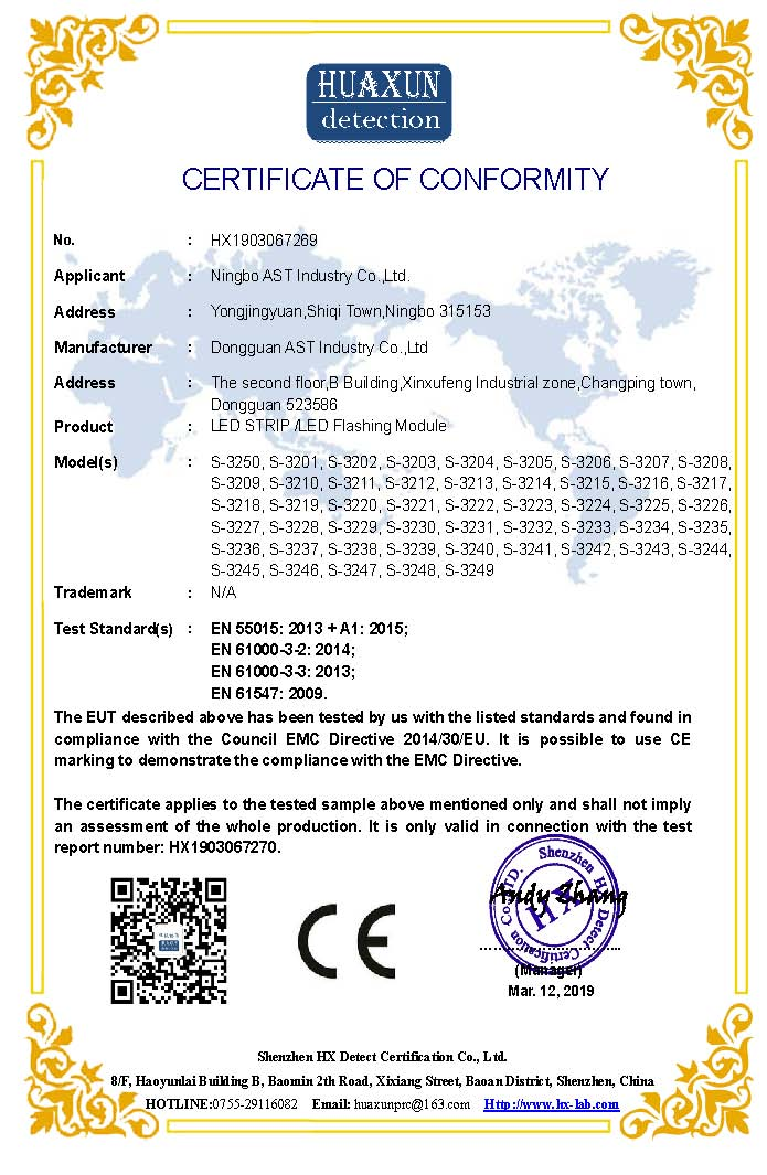 CE of led flashing module