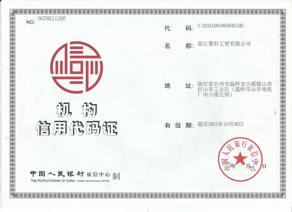 Institutional Credit Code Certificate