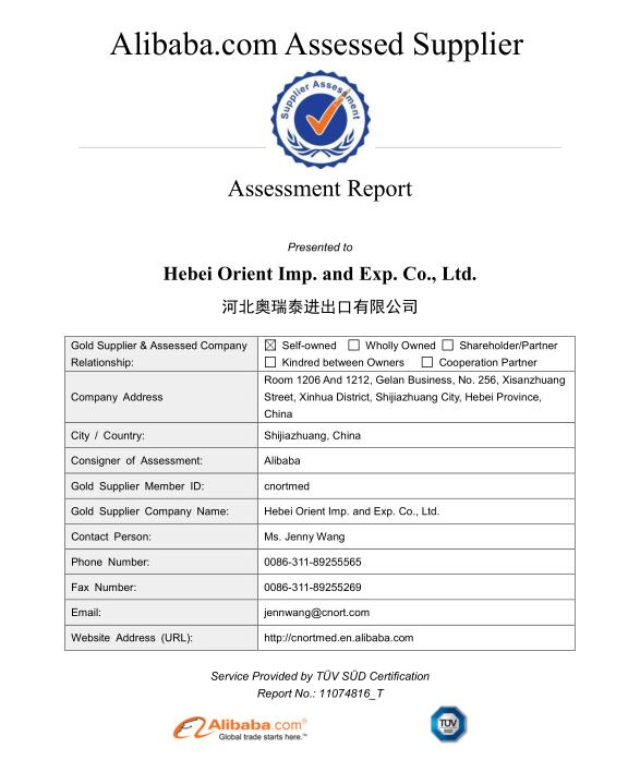 Supplier Assessment Report-Hebei Orient Imp. and Exp. Co., Ltd.
