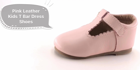 Pink Leather Kids T Bar Dress Shoes