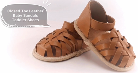 Closed Toe Leather Baby Sandals Toddler Shoes