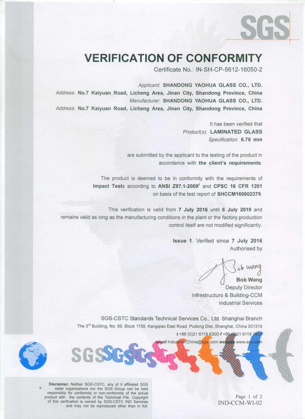 SGS verification of Conformity