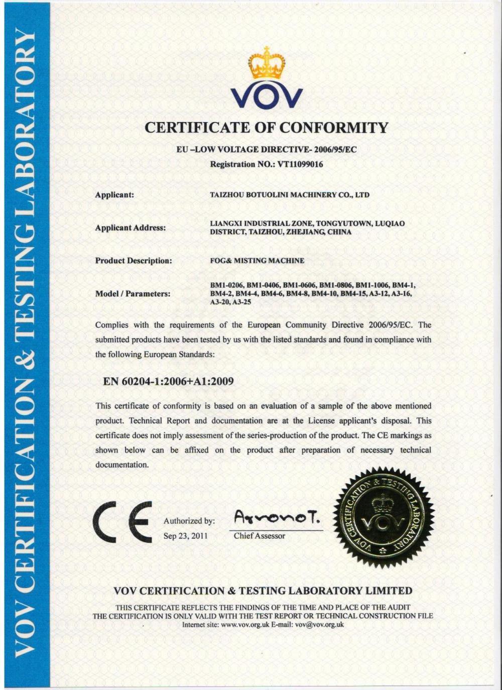 Fogging Machine CE Certificate