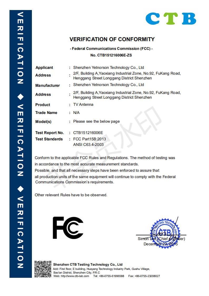 TV FCC Certificate 1
