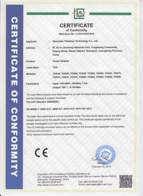 2014 Newest CE-LVD For Desktype Adapter Certificate