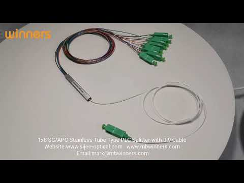 1x8 SC/APC Stainless Tube Type PLC Splitter with 0.9 Cable