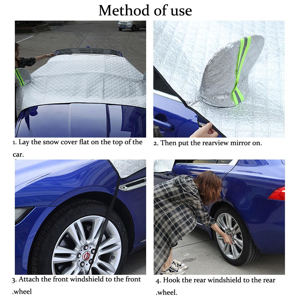 Waterproof universal heavy duty sunshade snow guard portable polyester stretch car winter cover