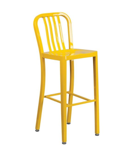 Textile Bar Stool with Plastic Slat for Outdoor