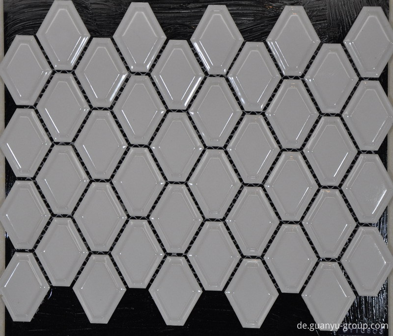 White Convex Hexagon Porcelain Mosaic