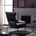 European Style Living Room Single Relaxing Leather Lounge Chair with Upholstered Sponge Armchair