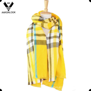Verificação Multicolor Na Moda Malha Longo Xadrez Cobertor Lenço
