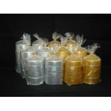 OPP Bag Packed Beautiful Metallic Pillar Candle