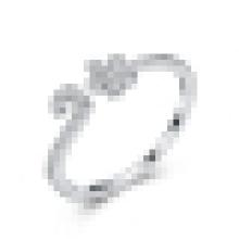 Anillo de apertura de ciruela pequeña plata esterlina 925 para mujer