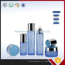 Frascos de vidrio de crema de lujo Frascos de vidrio azul de embalaje de cosméticos