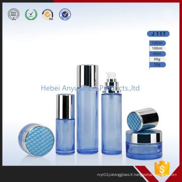 Fancy Cream Glass Jars Bouteilles en verre bleu pour emballage cosmétique