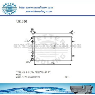 Aluminum Radiator For VOLKSWAGEN A3 Manufacturer and Direct Sale
