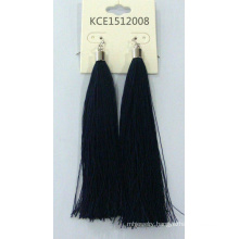 Black Fabric Earring with Metal Fashion Jewelry