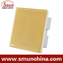 Interruptores dourados da lâmpada do interruptor do toque 4key para a parede