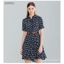 Moda floral impresso amadurece vestido de mulher para o verão